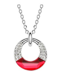 Circle Pendant made with Red Swarovski Crystal Elements