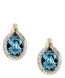 Blue Swarovski Elements Crystal and 925 Silver Earrings