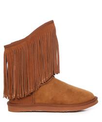 Caramel sheepskin fringed boots