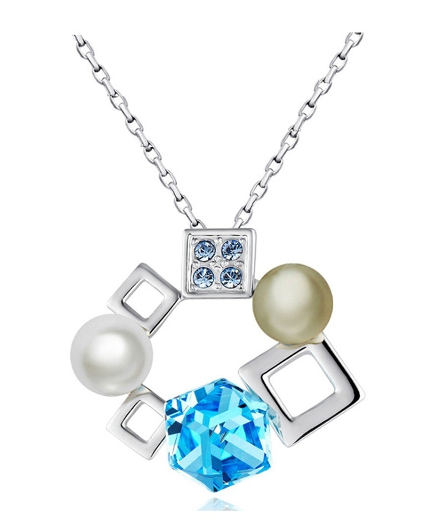White Pearl and Blue Cubes Swarovski Crystal Elements Pendant Sale - Blue Pearls