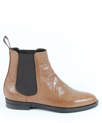 Brown leather textured flat ankle boots