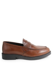 Men's tan leather slip-on loafers