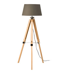Tripod grey wooden floor lamp