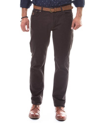Brown cotton slim fit trousers