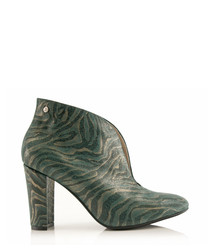Green leather heeled ankle boots