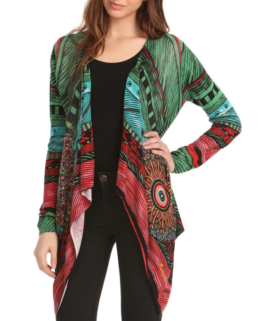 Discount Green cotton blend waterfall cardigan | SECRETSALES