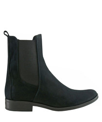 Black leather tall Chelsea boots