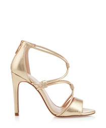 Lock gold-tone stiletto heels
