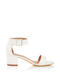Shadow white leather mid heels