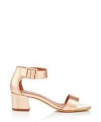 Shadow bronze leather mid heels