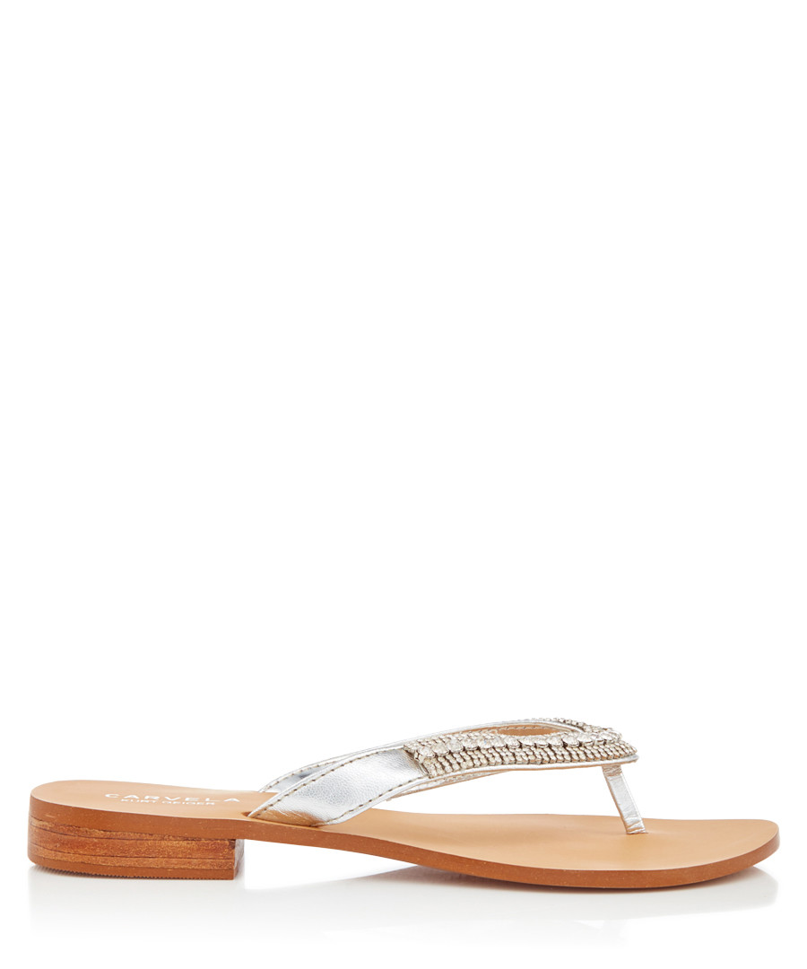 Breanne silver-tone leather flip flops  Sale - carvela