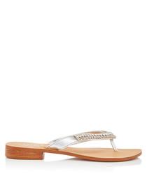 Breanne silver-tone leather flip flops
