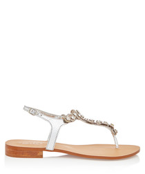 Bebe silver leather embellished sandals