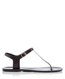 Brisk black t-strap sandals