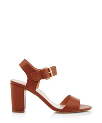 Sadie tan buckle heeled sandals