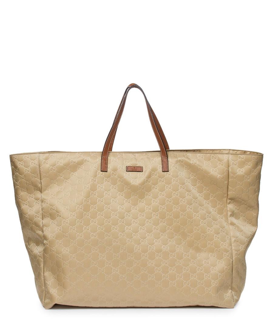 Discount Beige monogram canvas shopping tote bag | SECRETSALES