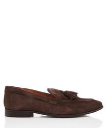 Rochford brown suede tassel loafers