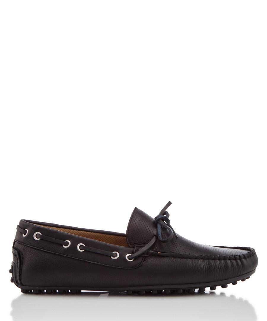6ddc0cb6366d Leven black leather boat shoes Sale - KG MEN