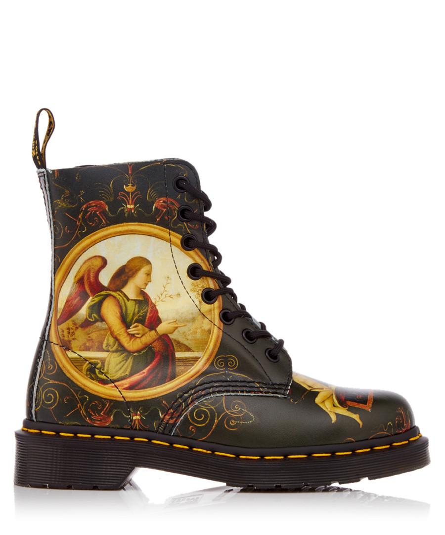 Unisex Pascal black leather print boots Sale - Dr. Martens