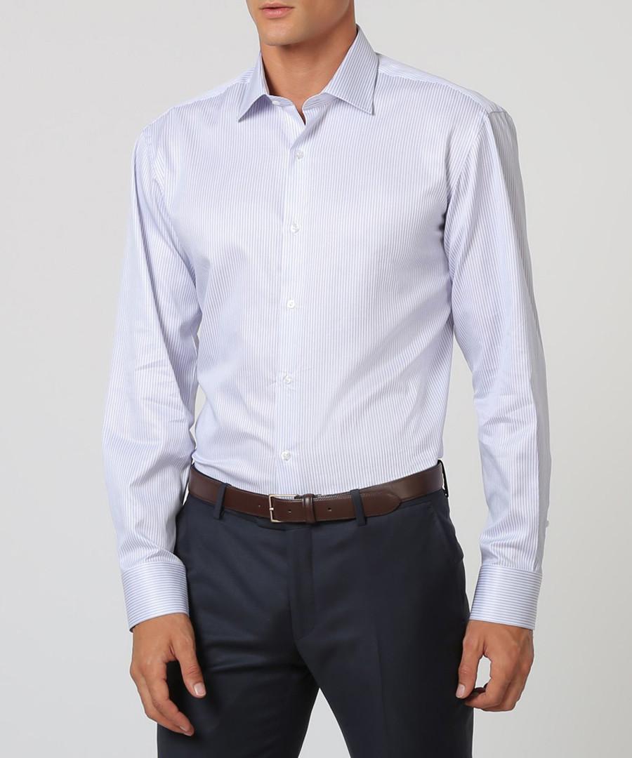 Pastel blue & purple cotton stripe shirt Sale - cloth by ermenegildo zegna