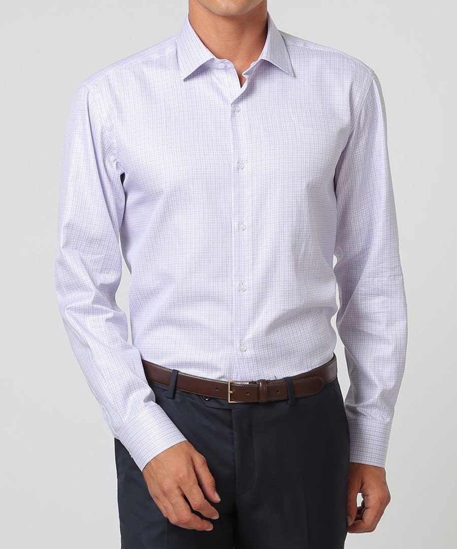 White & lilac pure cotton check shirt Sale - cloth by ermenegildo zegna