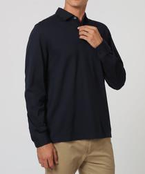 Navy pure cotton long-sleeve polo shirt