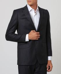 2pc night blue pure wool stripe suit