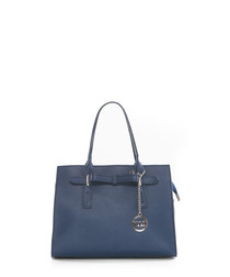 Navy leather structured grab bag
