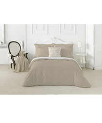 Nordicos taupe cotton king duvet set