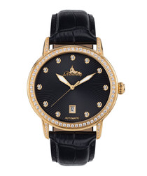 Dorothea black & gold-tone leather watch
