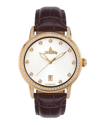 Dorothea brow leather & gold-tone watch