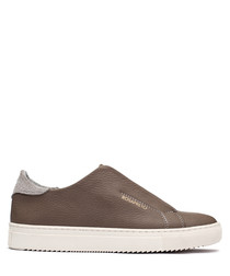 Women's beige leather slip-on sneakers
