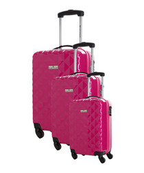 3pc Newark fuchsia spinner suitcase set