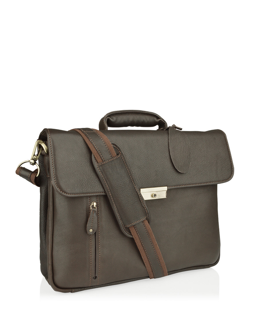 Brown leather satchel briefcase Sale - woodland leathers