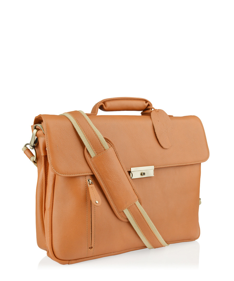 Tan leather satchel briefcase Sale - woodland leathers