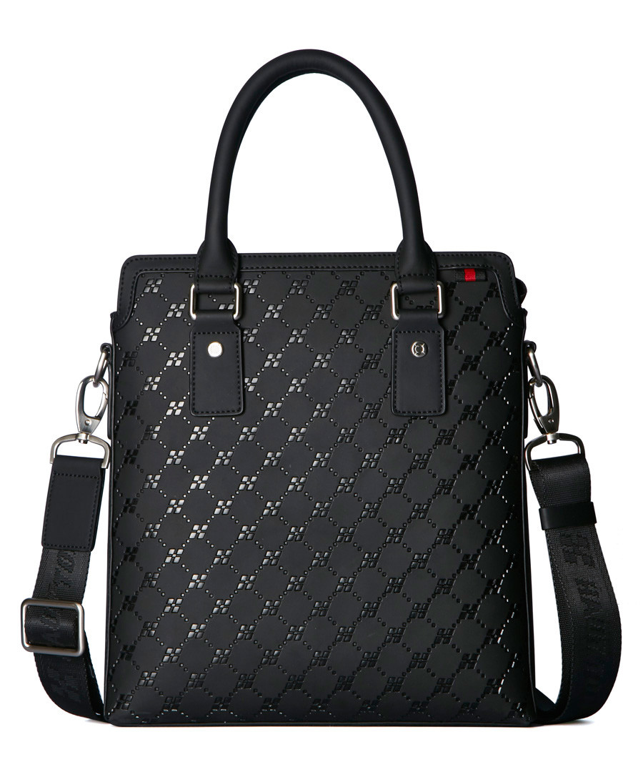 Black leather embossed briefcase Sale - hautton