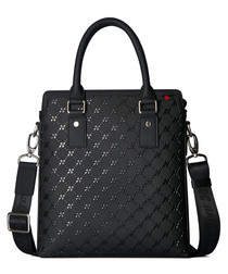 Black leather embossed briefcase
