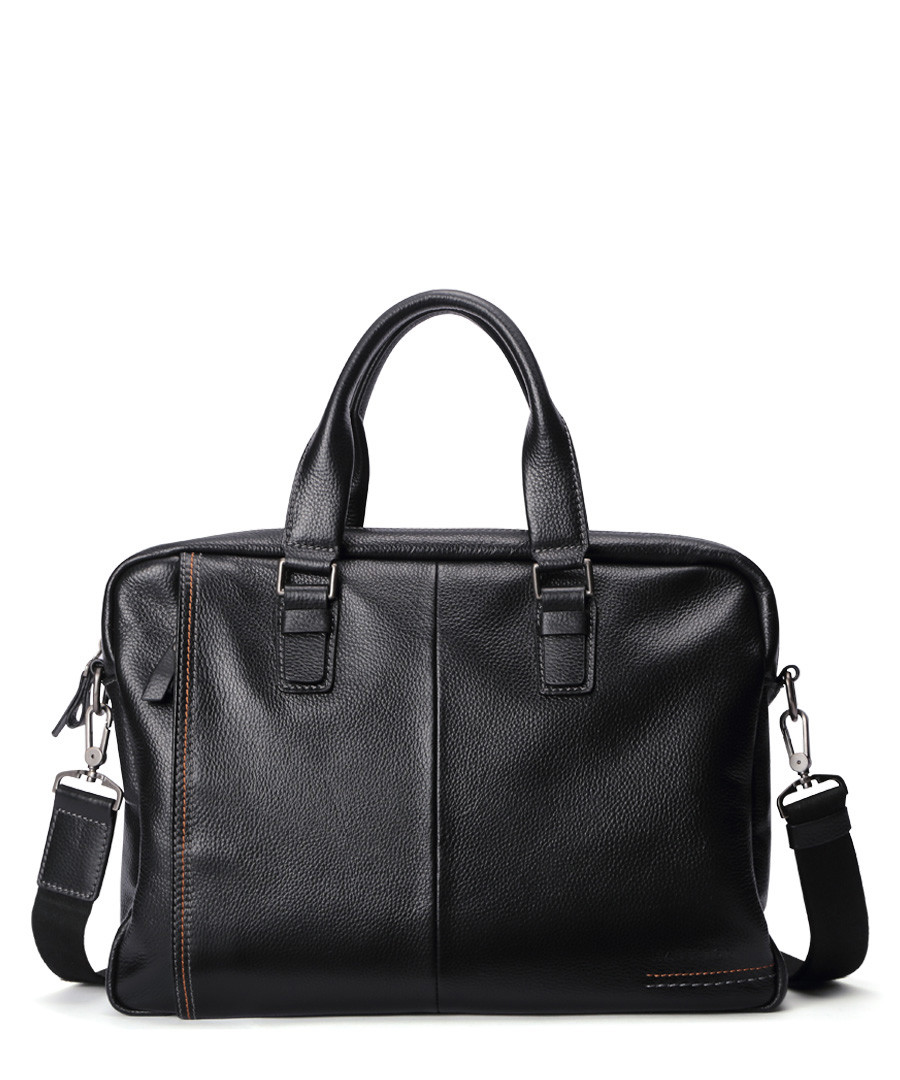 Black textured leather briefcase Sale - woodland leathers