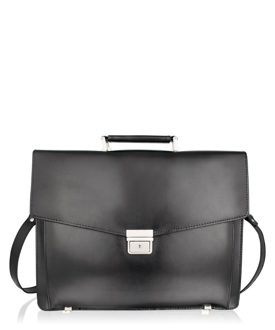 Black & silver-tone leather briefcase Sale - lombard