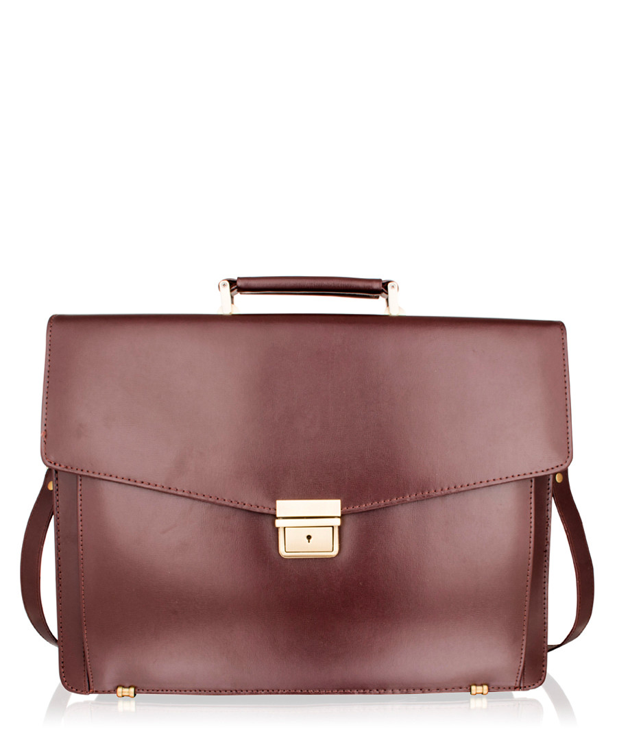 Burgundy & gold-tone leather briefcase Sale - lombard