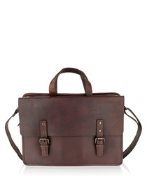 Burgundy leather satchel briefcase