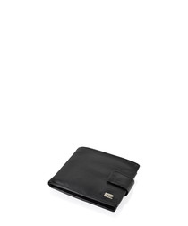 Black leather clip fastening wallet