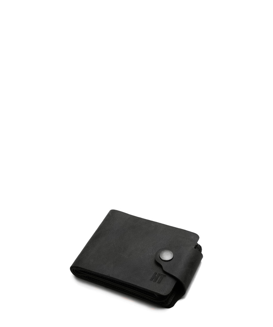 Black leather stud flap wallet Sale - hautton