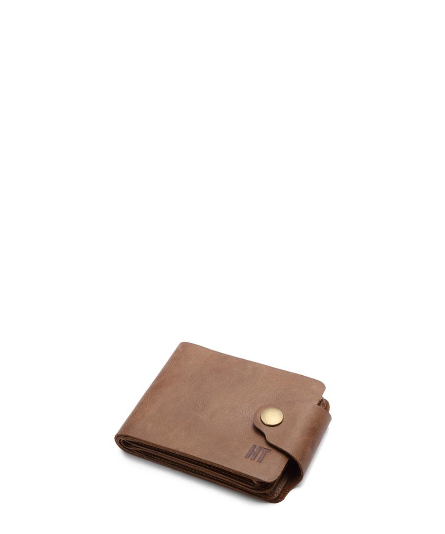 Tan leather stud flap wallet Sale - hautton