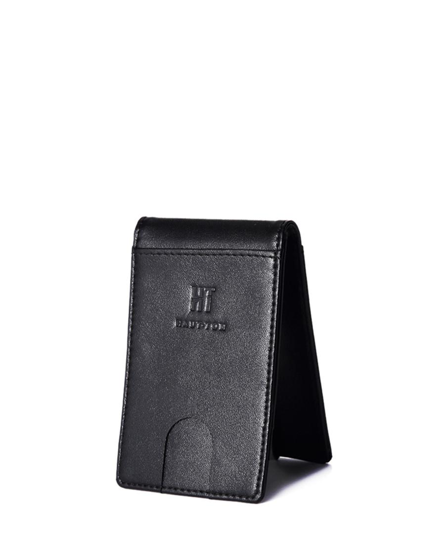 Black leather bi-fold wallet Sale - hautton