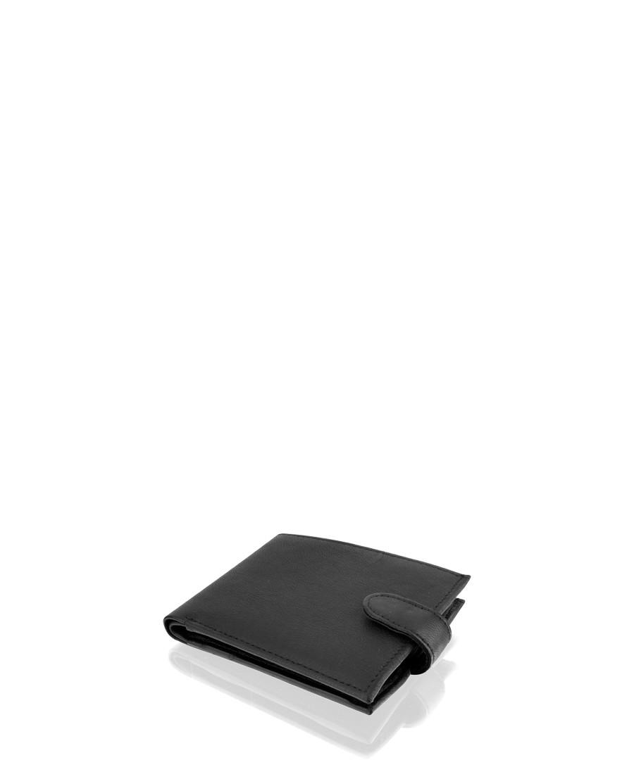 Black leather stud flap fastening wallet Sale - woodland leathers