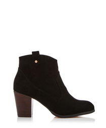 June black suede-effect ankle boots