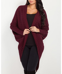 Maroon cotton blend knit cardigan