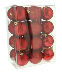 24pc red mixed baubles 6cm