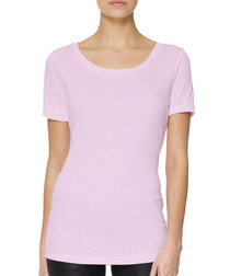 Pink cotton blend rolled scoop T-shirt